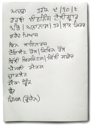 Gurmukhi Shopping List